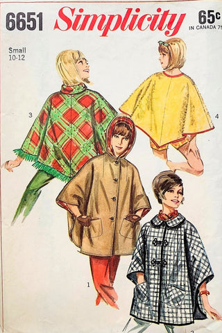 1960s Mod Set of PONCHOS Pattern SIMPLICITY 6651 Four Style Versions of Poncho Coats Jackets Size Small Vintage Sewing Pattern