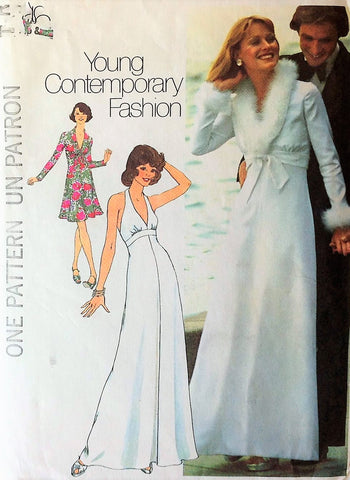 70s LOVELY Plunging Neckline Halter Dress Jacket Evening Gown Pattern SIMPLICITY 6658 Flattering Empire Dress Day or Evening Bust 34 Vintage Sewing Pattern