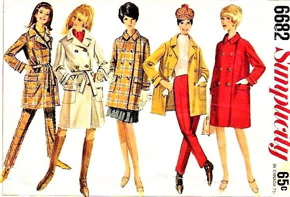 MOD 60s Simplicity 6682 Pattern Coat in Two Lengths and Slim Pants Slacks Bust 31 Vintage Sewing Pattern UNCUT