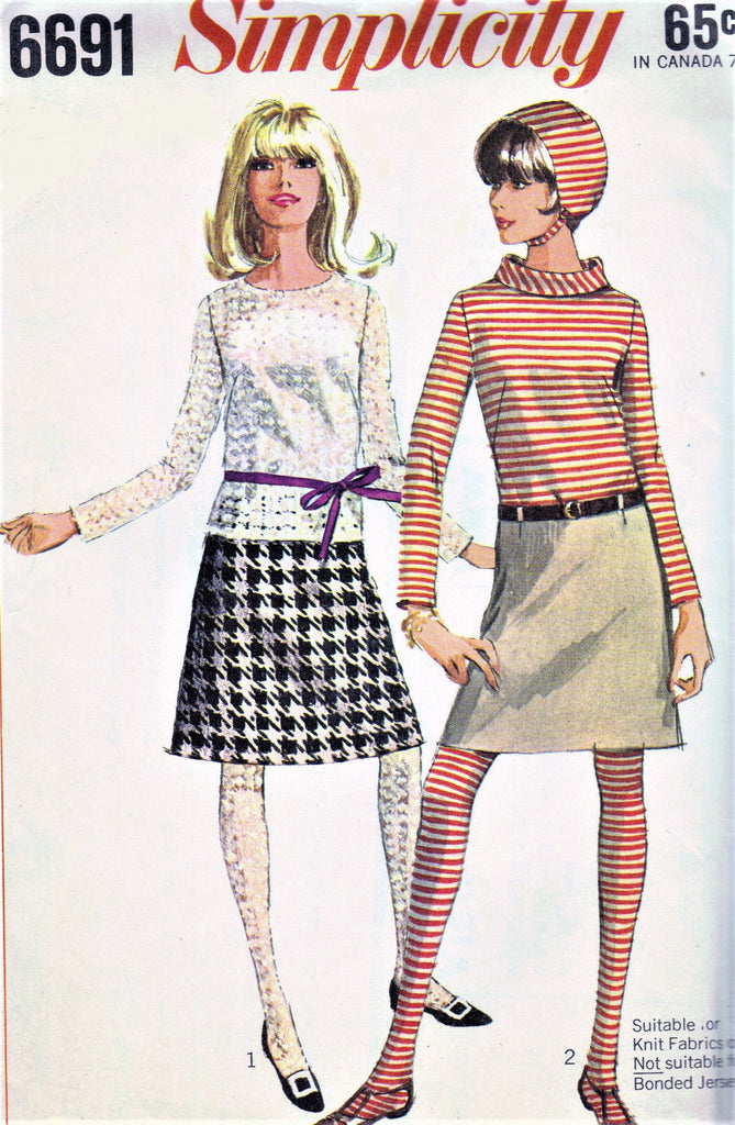 60s MOD Skirt Blouse Top Hat and Stockings Pattern SIMPLICITY 6691 Two Skirt Lengths, 2 Blouse Versions Size 9 Vintage Sewing Pattern UNCUT