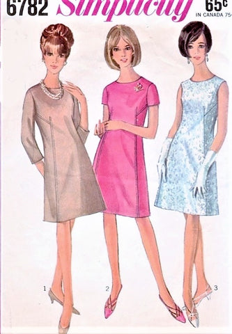 60s CUTE Mod Dress Pattern SIMPLICITY 6782 A Line Shift Day or Cocktail Dress 3 Versions Bust 36 Vintage Sewing Pattern