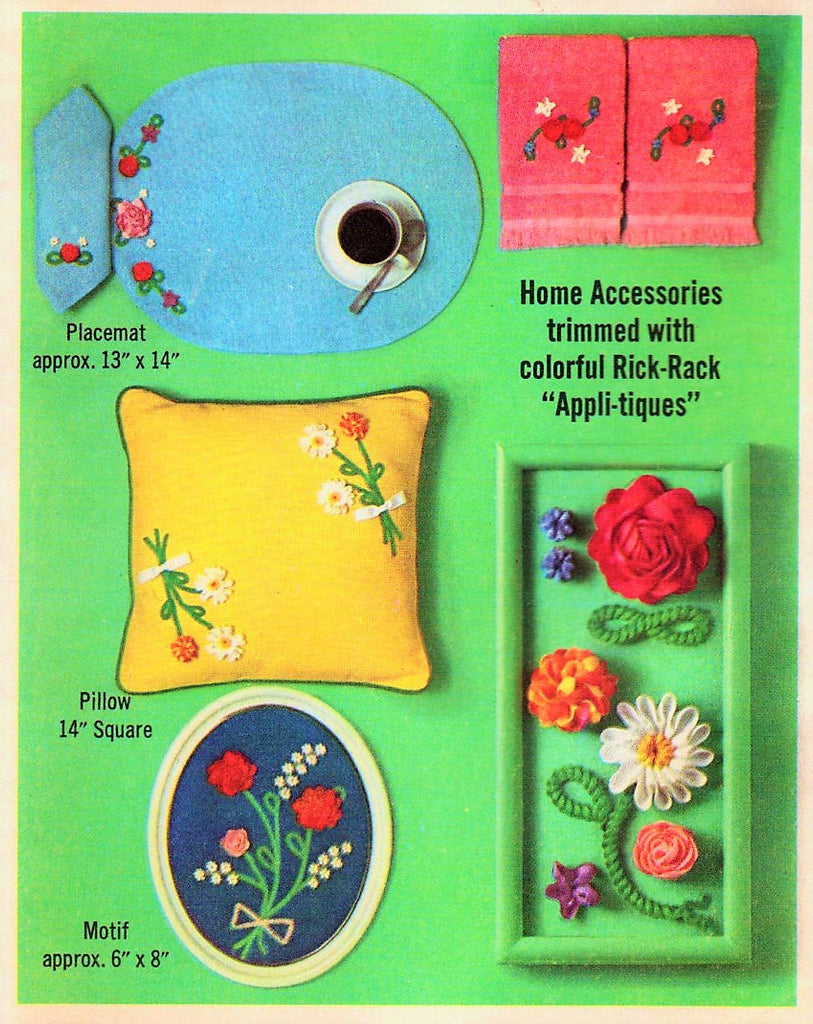 1960s Simplicity Sewing Pattern 6805 Home Accessories Trimmed With Colorful Rick-Rack Appli-tiques UnCut Vintage Home Decor