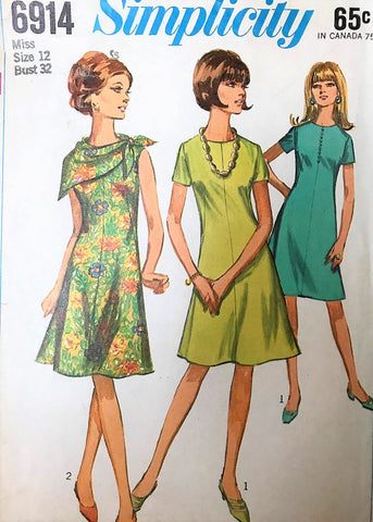 1960s Flared A-Line Dress and Scarf Pattern SIMPLICITY 6914 Figure Flattering Style Bust 32 Vintage Sewing Pattern UNCUT