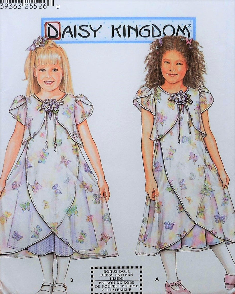 SWEET Little Girls DAISY KINGDOM Dress and Slip Pattern SIMPLICITY 7001 Includes DOLL Dress Pattern For 18 in American Doll Toddler Little Girls Size 3-6 Vintage Sewing Pattern UNCUT