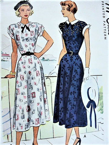 40s FLATTERING Bias Cut Dress Pattern McCALL 7290 Two Pretty Versions Bust 32 Vintage Sewing Pattern