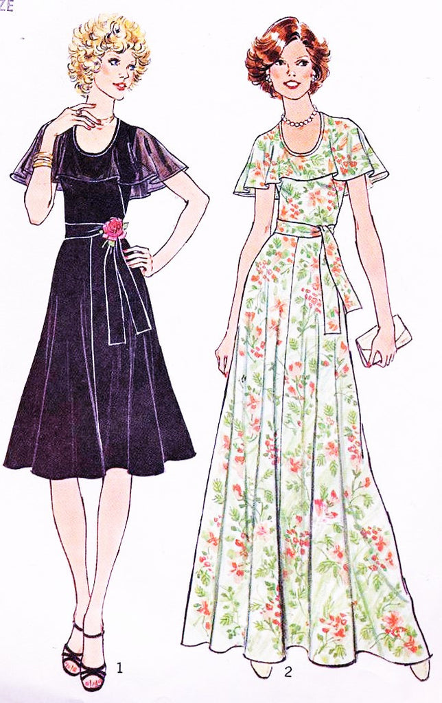 1970s FAB Simplicity 7382 Evening Dress Pattern Bust 36 Lovely Capelet Flounce Collar Formal Maxi Party Gown Vintage Sewing pattern UNCUT