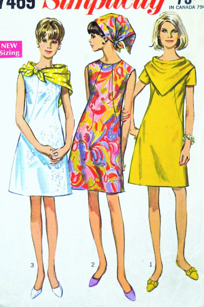 1960s MOD Dress Pattern SIMPLICITY 7469 With Two Scarves Easy To Sew Bust 34 Vintage Sewing Pattern UNCUT