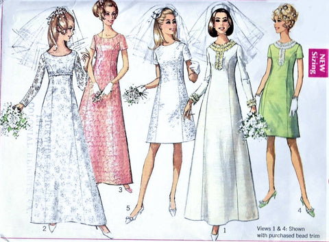 60s RETRO Wedding Dress Pattern SIMPLICITY 7538 A Line Princess Seams Bridal Gown Bridesmaids Dress Bust 32 Vintage Sewing Pattern
