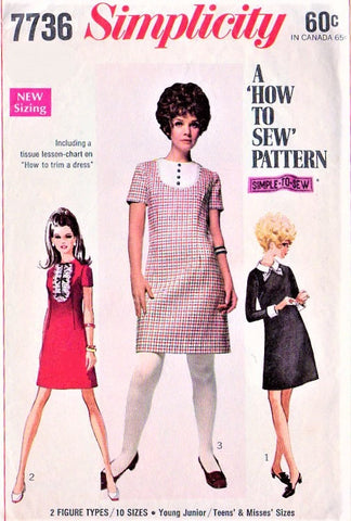 60s CUTE Mod Dress Detachable Collar Cuffs SIMPLICITY 7736 Bust 30 How To Sew Vintage Sewing Pattern UNCUT