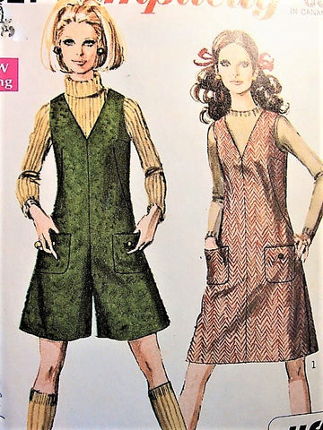 Mod 1960s Simplicity Vintage Pattern 7821 Jiffy Jumper and Mini-Pant Jumper, Culotte Jumper Easy To Sew Bust 36 Vintage Sewing Pattern