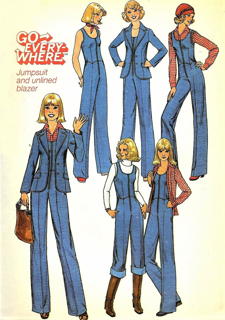 1970s FAB Go Every Where JUMPSUIT and Blazer Jacket Pattern SIMPLICITY 7887 Bust 32 Vintage Sewing Pattern