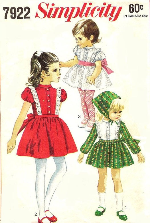 1960s ADORABLE Little Girls Dress and Scarf Pattern SIMPLICITY 7922 Three Sweet Styles Size 5 Childrens Vintage Sewing Pattern FACTORY FOLDED