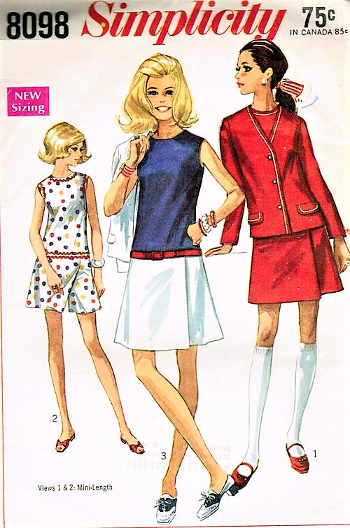 Mod 1960s CUTE Culotte Dress and Jacket Pattern Mini Dress Skort Skirt Scooter Fun Summer Dress or Tennis Simplicity 8098 Bust 31 Vintage Sewing Pattern UNCUT