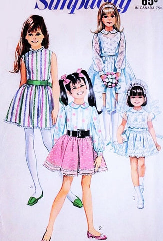 CUTE 1960s Simplicity 8171 Kawaii Girls Party Flower Girl Dress Vintage Sewing Pattern Size 10 UNCUT