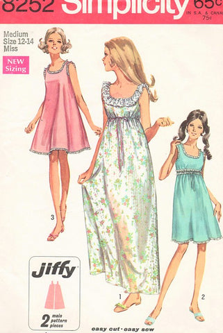 1960s PRETTY Nightgown Pattern SIMPLICITY 8252 Two Lengths 3 Style Versions Bust 34-36 Vintage Sewing Pattern