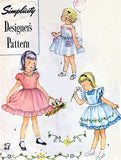 50s ADORABLE Little Girls Toddler Dress and Pinafore With Transfer Pattern SIMPLICITY Designers 8253 Two Sweet Dress Styles and Pinafore Childs Size 2 Vintage Childrens Sewing Pattern