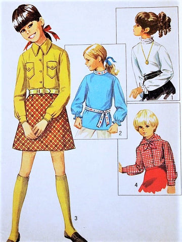 1960s CUTE Girls Retro Blouse, Shirt and Scarf Pattern SIMPLICITY 8307 Four Styles Size 12 Vintage Sewing Pattern UNCUT