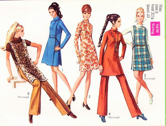 60s Mod Dress, Jerkin and Pants Pattern SIMPLICITY 8346 Retro Fashions Vintage Sewing Pattern FACTORY FOLDED