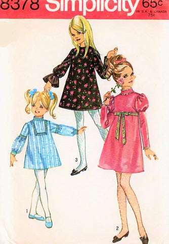60s Girls Dress Pattern Juliet Sleeves Girls Mini Dress Girls Vintage Dress SIMPLICITY 8378 Girls Size 10 Dress Pattern Girls Retro Dress UNCUT