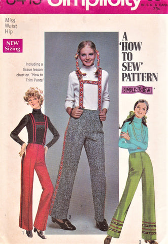 1960s RETRO Suspender Pants Pattern SIMPLICITY 8415 Cute High Waist Straight Pants 3 Versions Waist 24 Vintage Sewing Pattern UNCUT
