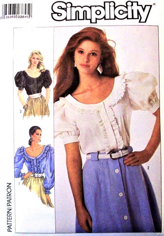 80s Peasant Blouse Pattern Simplicity 8498 Ruffled Romantic Steampunk Vintage Sewing Pattern Size 16- 18- 20 Bust 38- 40- 42 inches FACTORY FOLDED