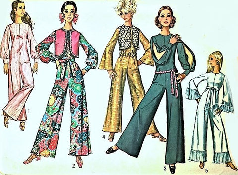 VINTAGE Simplicity 8506 Pattern Jumpsuit 1960s Bust 34 Mod Groovy Mad Men Vest Hippie Bell Bottoms Vintage Sewing Pattern UNCUT