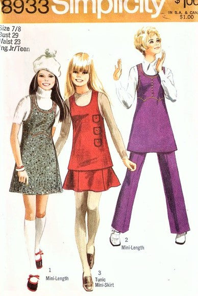 70s RETRO Mini-Jumper or Tunic, Mini-Skirt and Pants Pattern SIMPLICITY 8933 Bust 29 Vintage Sewing Pattern UNCUT