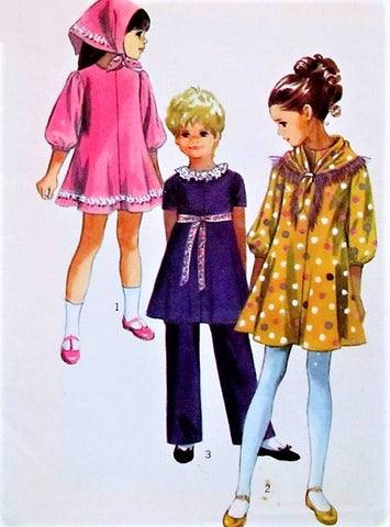 70s CUTE Little Girls Dress,Pants and Scarf Pattern SIMPLICITY 9188 Size 4 Vintage Childrens Sewing Pattern UNCUT