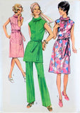 70s RETRO Belted Dress, Tunic and Pants SIMPLICITY 9329 Bust 41 Vintage Sewing Pattern UNCUT