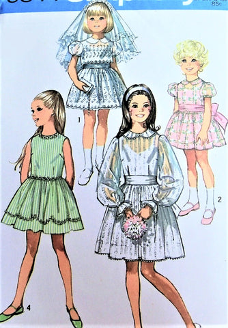70s CUTE Little Girls Toddler Fancy Party Dress Pattern SIMPLICITY 9344 Retro Wedding Bridal Flower Girl Dress Size 8 Vintage Sewing Pattern UNCUT
