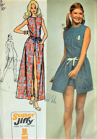Simplicity 9973 Vintage 70s Sewing Pattern SASSY Mod Super Jiffy Summer Romper, Playsuit, Zipper Front Jumpsuit,Tie On Mini or Maxi Skirt Bust 38 FACTORY FOLDED