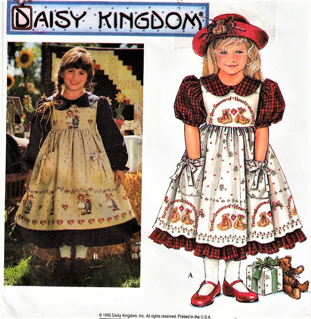ADORABLE Vintage Daisy Kingdom Little Girls Pinafore and Dress Pattern SIMPLICITY 9977 Childrens Calf Length Full Skirt Ruffle Vintage Sewing Pattern  Sizes 3-4-5-6 UNCUT