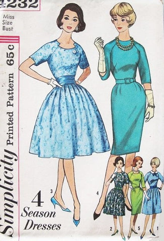 60s Slim or Full Skirt Dress Pattern Simplicity 4232 Four Season Dresses Lovely Jewel Notched Neckline Plus Detachable Collar Includes Cummerbund Bust 38 Vintage Sewing Pattern