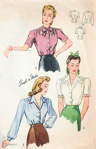 40s FAB War Time Era Blouse Pattern SIMPLICITY 4356 Three Pretty Styles Bust 32 Vintage Sewing Pattern