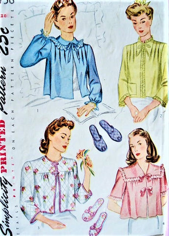 40s WW II PRETTY Bed Jackets and Slippers Pattern SIMPLICITY 4756  Four Glam Styles Bust 32 Vintage Sewing Pattern
