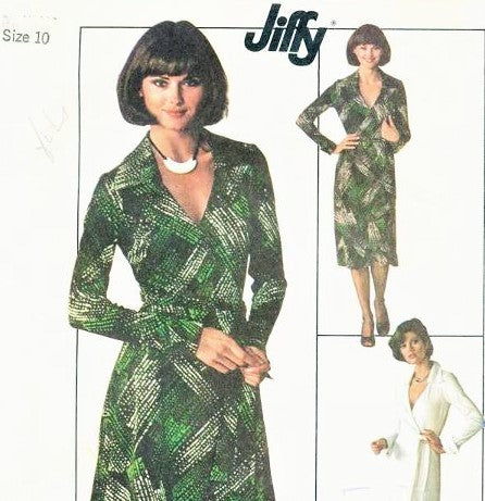 70s DVF Wrap Dress Pattern SIMPLICITY 7705 Diane Von Furstenberg Style Wraparound Dress Famous Iconic Design American Hustle Bust 34 Vintage Jiffy Sewing Pattern FACTORY FOLDED
