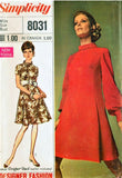 1960s MOD Designer Fashion Day or After 5 Dress Pattern SIMPLICITY 8031 Two Versions Bust 34 Vintage Sewing Pattern UNCUT