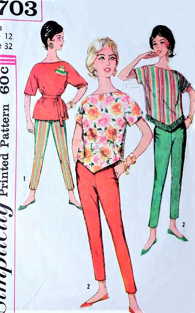 1960s RETRO Ultra Slim Pants and Over Blouse Top Pattern SIMPLICITY 3703 Cute Bateau Tops Cigarette Pants Bust 32 Vintage Sewing pattern +Transfer UNCUT