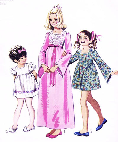 70s SWEET Little Girls Party Dress Pattern SIMPLICITY 9897 Three Cute Styles Size 8 Vintage Childrens Sewing Pattern