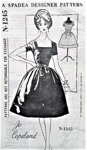 50s BEAUTIFUL Jo Copeland Cocktail Party Dress Pattern SPADEA 1245 Square Neckline Bell Shape Skirt Evening Dress Bust 34 Vintage Sewing Pattern
