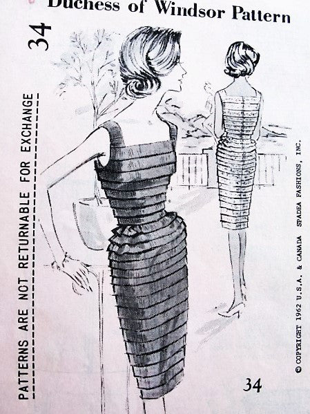 1960s STUNNING Cocktail Evening Dress Pattern SPADEA Duchess Of Windsor Bust35 Vintage Sewing Pattern FF