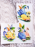 Vintage 1940s MEYERCORD Decal Transfers SWANS Decal Stickers Blue Pink Swans Use In Collage Decorate Furniture Kitsch Retro Vintage Decor