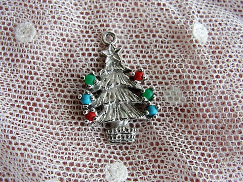 LOVELY Vintage Sterling Silver Christmas Tree Charm Decorated Christmas Holiday Tree Charm With Stones Sterling Silver Charm for Bracelet Collectible Vintage Silver Charms