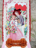 ANTIQUE Fold Out VALENTINE Card Romantic Couple HONEYCOMB Greeting Card Colorful Decorative Collectible
