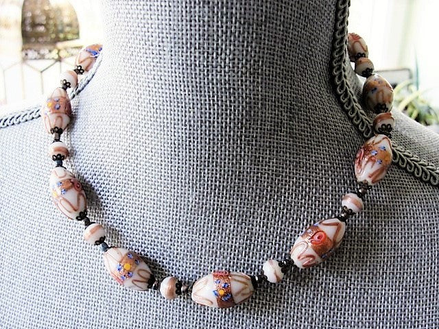VINTAGE Beautiful Murano Glass Necklace Venetian Wedding Cake Art Glass Bead Necklace Perfect For Bride Bridal Jewelry