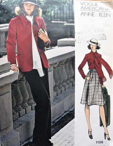 FABULOUS Anne Klein Jacket,Pants,Skirt,Blouse and Scarf Pattern Vogue Americana 1159 Bust 34 Vintage Sewing Pattern FACTORY FOLDED + Label
