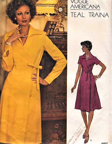 1970s STYLISH Teal Traina Side Wrap Dress Pattern VOGUE AMERICANA 1187 Bust 32 Vintage Sewing Pattern