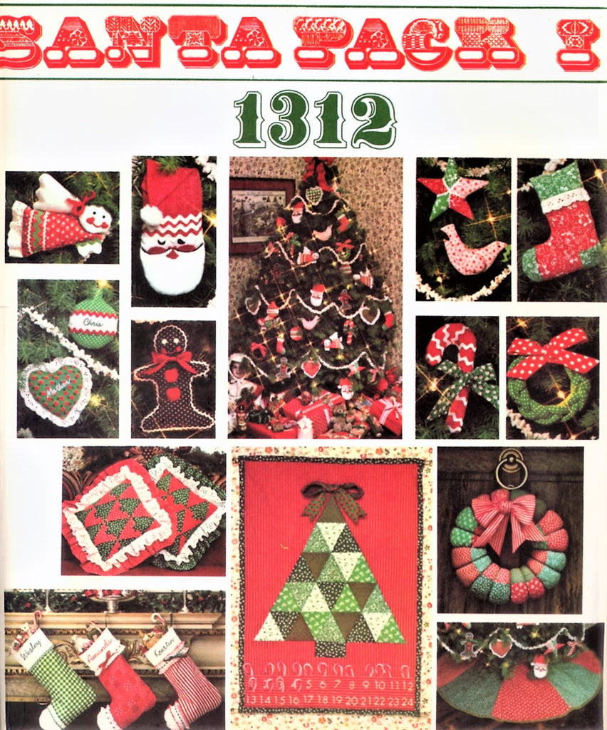 LOVELY 1970s Santa Pack I Christmas Accessories VOGUE 1312 Christmas Tree Ornaments, Decorations, Xmas Stockings, Tree Skirt etc Vintage Crafts Sewing Pattern UNCUT