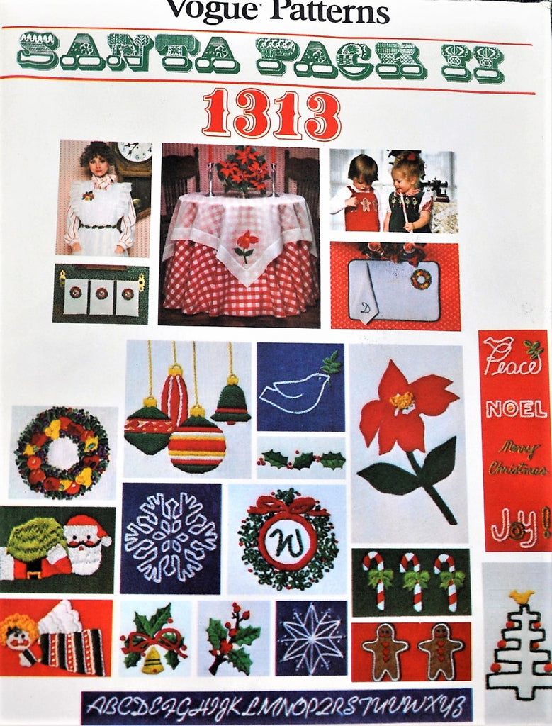 LOVELY 1970s Santa Pack II Christmas Accessories Iron On Transfers VOGUE 1313  Christmas Iron-On Embroidery Motifs - Poinsettia, Ornament, Santa, Holly, Wreath, Candy Canes etc Vintage Crafts Sewing Pattern UNCUT