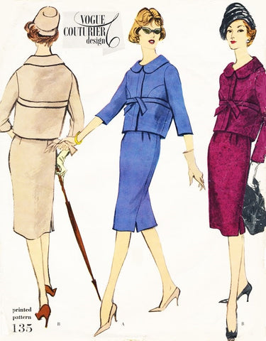 50s ELEGANT Suit Pattern VOGUE COUTURIER DESIGN 135 Slim Skirt Short Jacket Easy Day To Evening Bust 31 Vintage Sewing Pattern